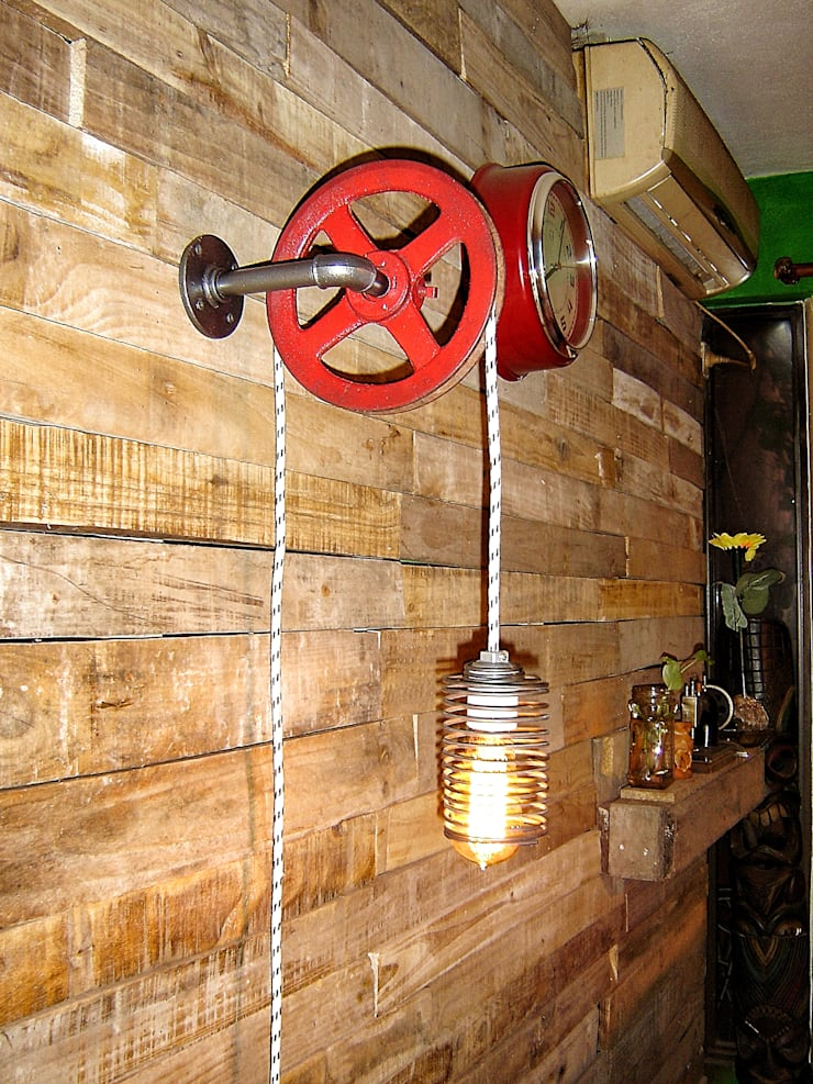 Aplique de Pared Industrial Polea :  de estilo industrial por Lamparas Vintage Vieja Eddie,Industrial Hierro/Acero