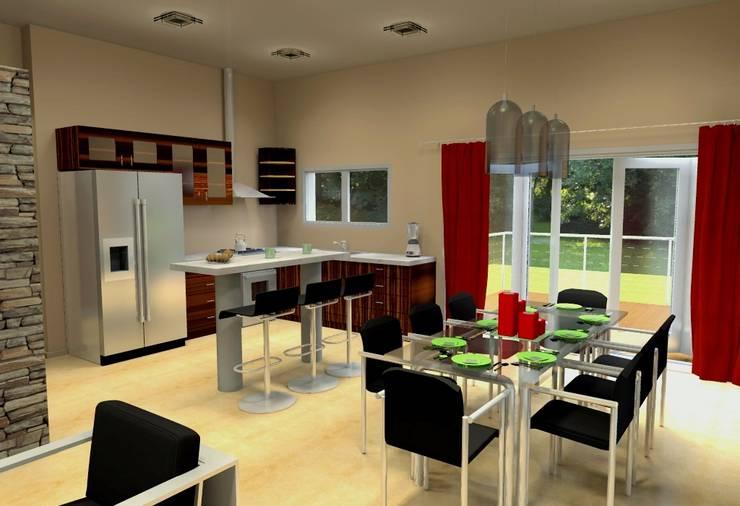 Vivienda Unifamiliar – 90 m² – Zona Villa Carlos Paz: Cocinas de estilo  por Arq. Barale Guillermo