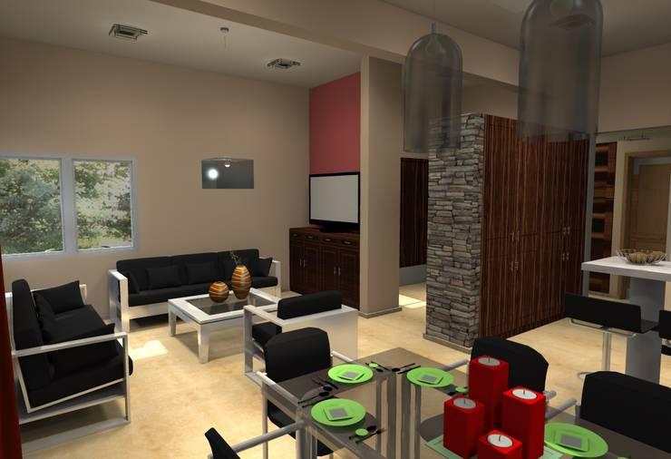 Vivienda Unifamiliar – 90 m² – Zona Villa Carlos Paz: Livings de estilo  por Arq. Barale Guillermo