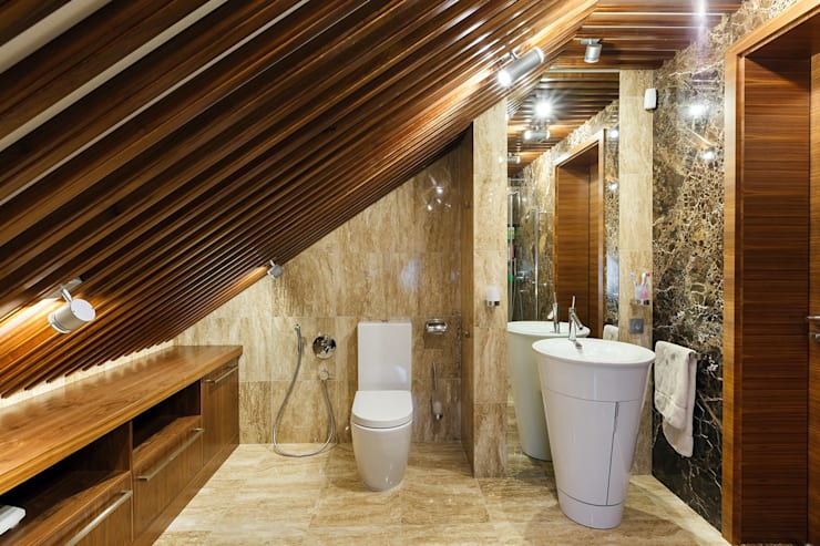 Дом в Сарьгах: Ванные комнаты в . Автор – Юдин и Новиков