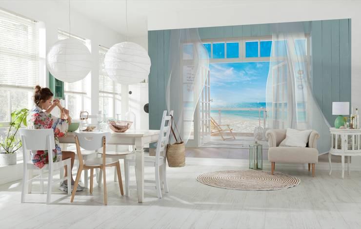 Fotomural Vista a la Playa: Comedores de estilo  por DeColor