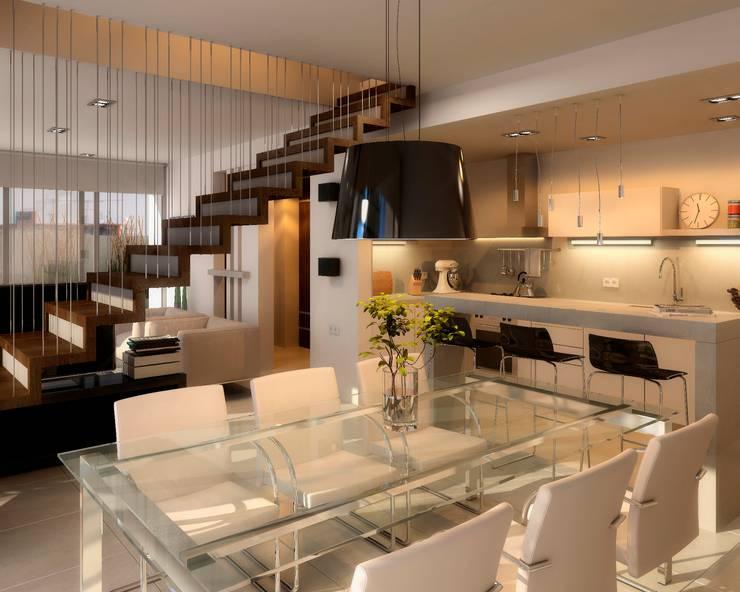 Edificio Mística VII: Comedores de estilo moderno por AMADO arquitectos