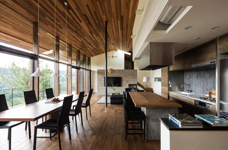 House in Sayo: MimasisDesign [ミメイシスデザイン]が手掛けたダイニングです。