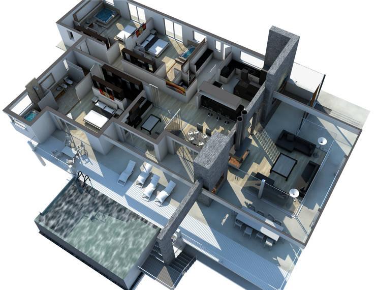 INTERIOR-PROYECCIÓN AXONOMÉTRICA: Pasillos y recibidores de estilo  por ARQUETERRA