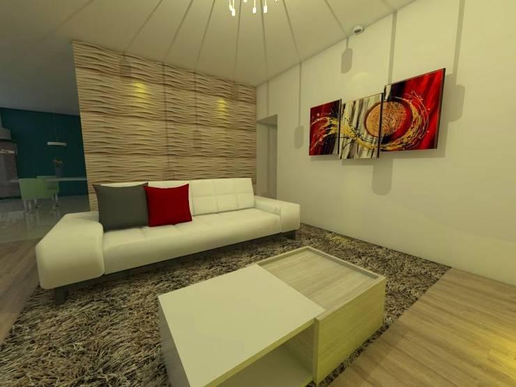 """PROYECTO """"CASA MODELO"""" -aún sin ejecutar: Livings de estilo  por ER Design.    @eugeriveraERdesign"""