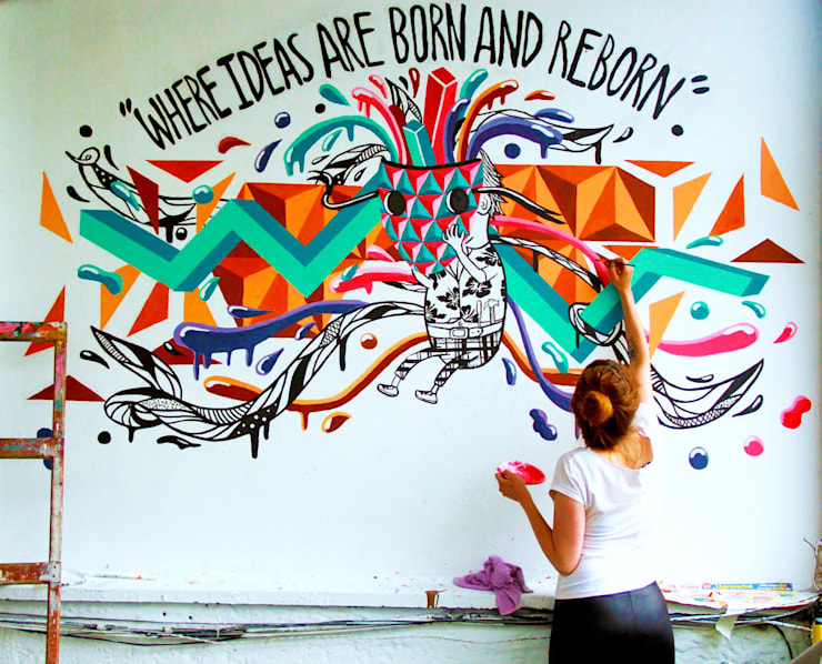 Mural-Where ideas are born and reborn: Casas de estilo  por Phoenix Touch