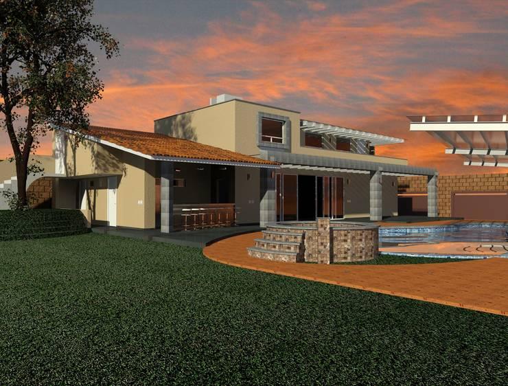 Jardín y terraza para asador y jacuzzi junto a alberca: Jardines de estilo  por CESAR MONCADA S