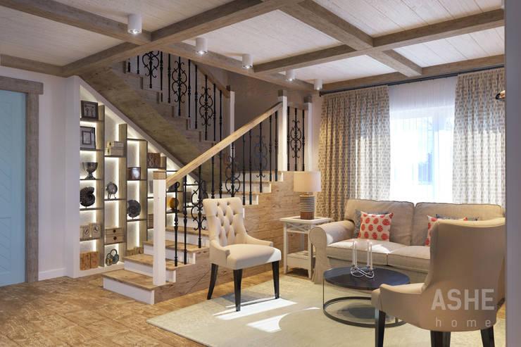 Загородный дом с стиле шале: Гостиная в . Автор – Студия авторского дизайна ASHE Home