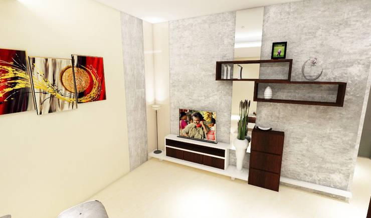 Living Room TV Unit:  Living room by colourschemeinteriors,Minimalist Plywood