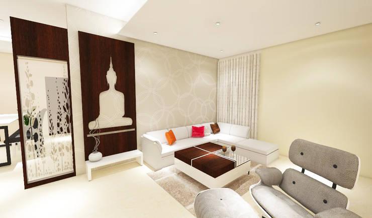 3 bedroom residential project Alkapuri, Hyderabad.:  Living room by colourschemeinteriors,Minimalist
