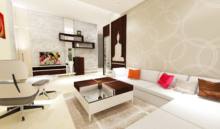 3 bedroom residential project Alkapuri, Hyderabad.: minimalistic Living room by colourschemeinteriors