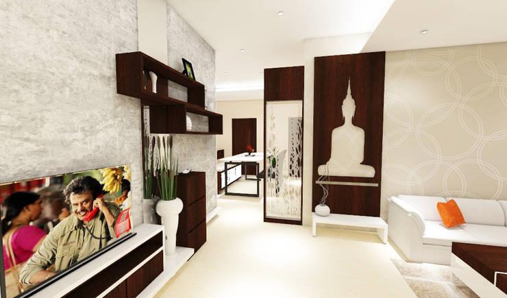 3 bedroom residential project Alkapuri, Hyderabad.:  Living room by colourschemeinteriors,Minimalist Plywood