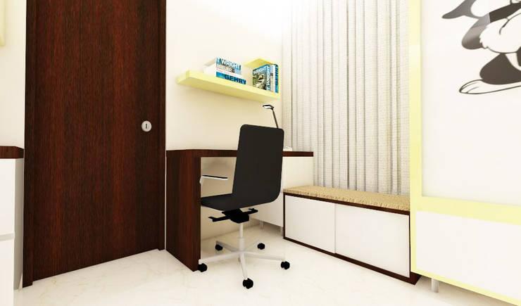 3 bedroom residential project Alkapuri, Hyderabad.:  Bedroom by colourschemeinteriors,Minimalist Plywood