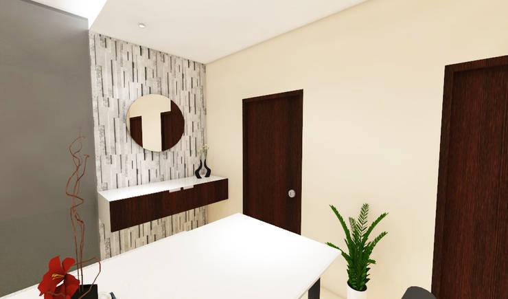3 bedroom residential project Alkapuri, Hyderabad.:  Dining room by colourschemeinteriors,Minimalist