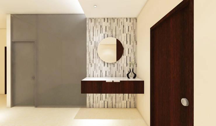 3 bedroom residential project Alkapuri, Hyderabad.:  Dining room by colourschemeinteriors,Minimalist Plywood