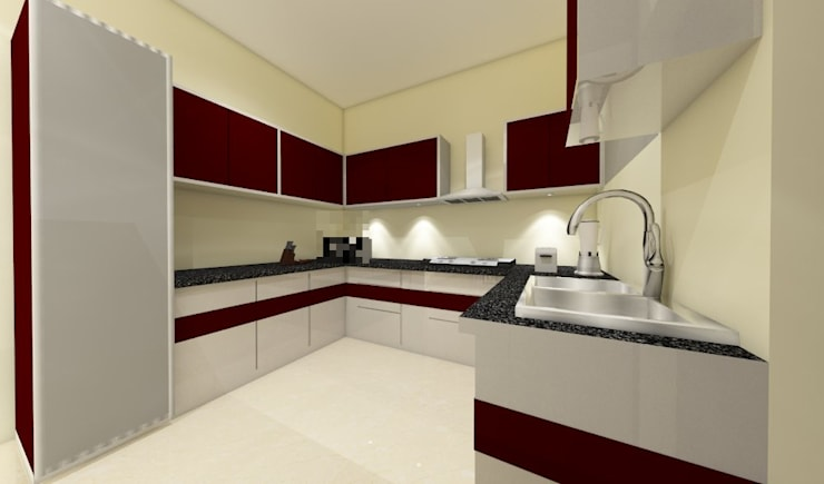 3 bedroom residential project Alkapuri, Hyderabad.:  Kitchen by colourschemeinteriors