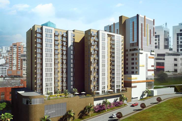 Fachada Torre apartamentos: Edificios de oficinas de estilo  por MIES GROUP