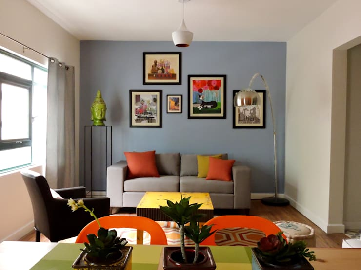 Vista de la sala:  de estilo  por Ana Valdés Interiores