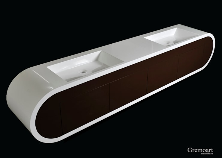 Umywalka dwustanowiskowa: styl , w kategorii  zaprojektowany przez Gremo art,Nowoczesny