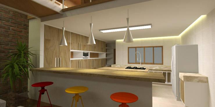 Cozinha no Loft: Cozinhas  por Studio 21