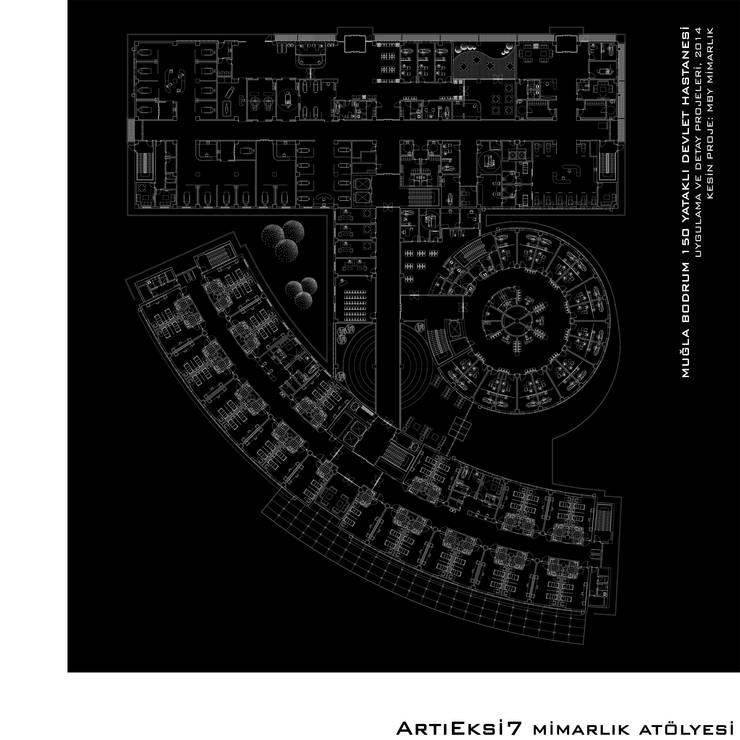 ArtıEksi7 Mimarlık Atölyesi – Muğla Bodrum 150 Yataklı Devlet Hastanesi:  tarz Hastaneler, Modern