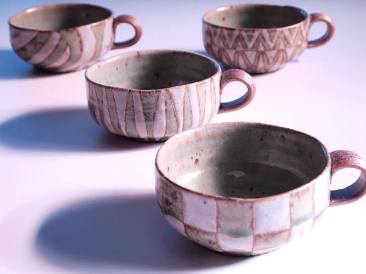 釉彩スープマグッカプ: 水谷俊雄が手掛けた折衷的なです。,オリジナル 陶器