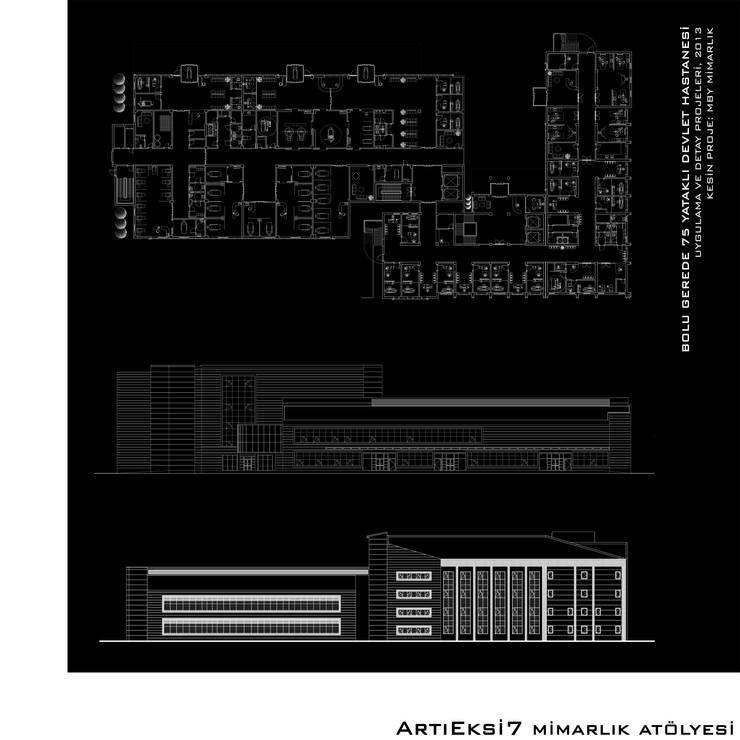 ArtıEksi7 Mimarlık Atölyesi – Bolu Gerede 75 Yataklı Devlet Hastanesi:  tarz Hastaneler, Modern