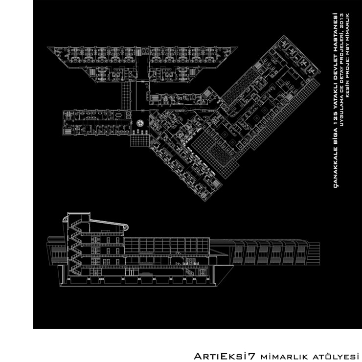 ArtıEksi7 Mimarlık Atölyesi – Çanakkale Biga 125 Yataklı Devlet Hastanesi:  tarz Hastaneler, Modern