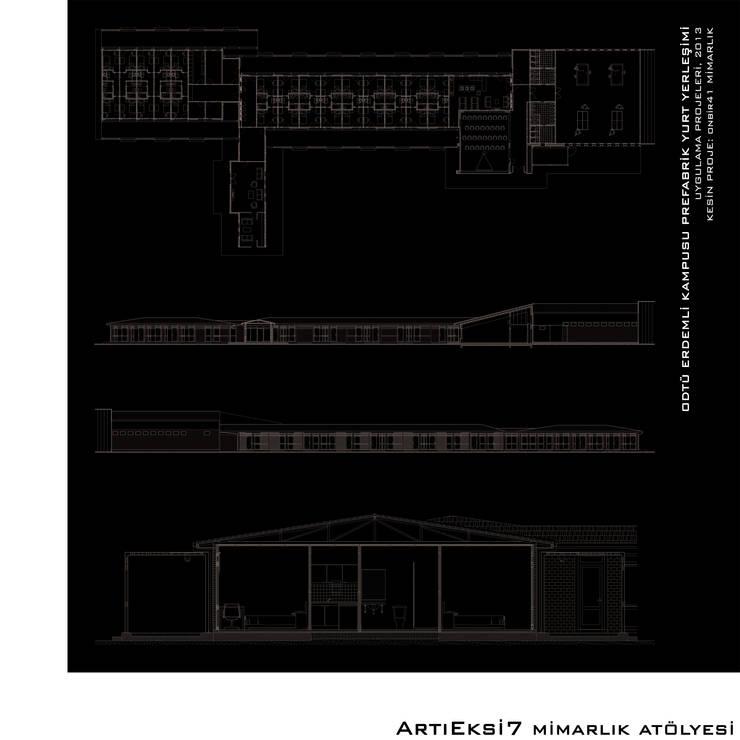 ArtıEksi7 Mimarlık Atölyesi – ODTÜ Erdemli Kampusu Prefabrik Yurt Yerleşimi:  tarz