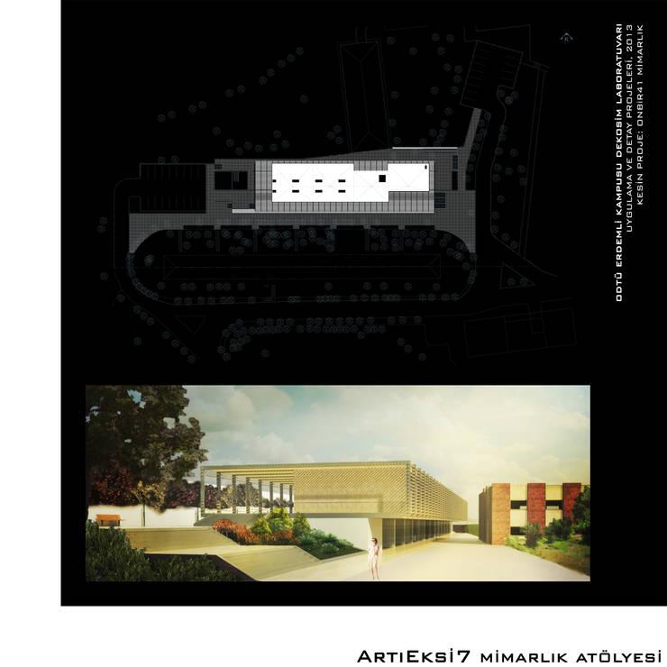 ArtıEksi7 Mimarlık Atölyesi – ODTÜ Erdemli Kampusu DEKOSİM Laboratuvarı: modern tarz , Modern
