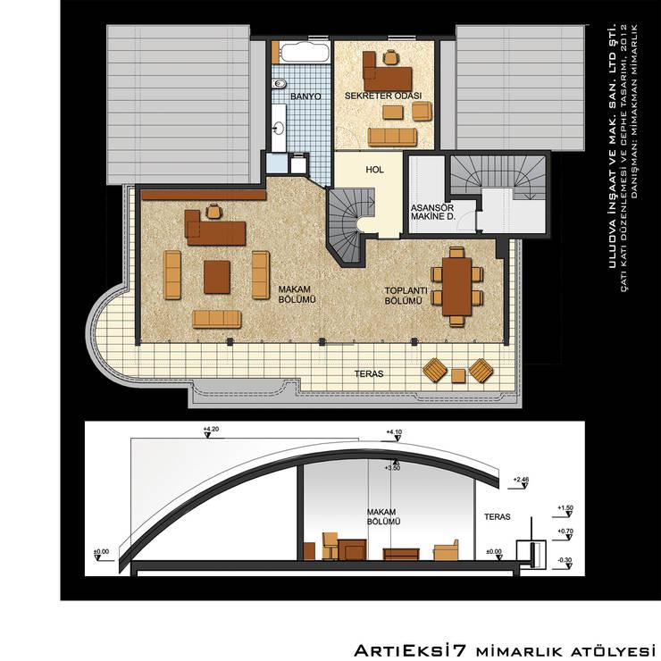 ArtıEksi7 Mimarlık Atölyesi – Uluova İnşaat ve Mak. San. Ltd. Şti.:  tarz Ofis Alanları, Modern