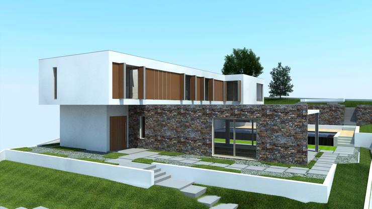 Alçado da Moradia: Casas  por Miguel Ferreira Arquitectos