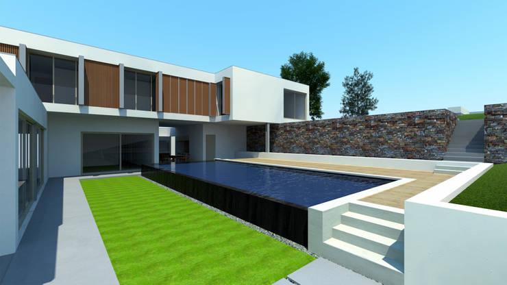 Pormenor da Piscina transbordante: Piscinas  por Miguel Ferreira Arquitectos