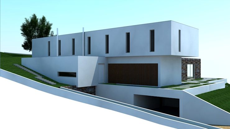 Moradia Soltroia: Casas  por Miguel Ferreira Arquitectos