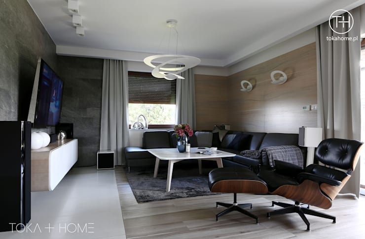 STYLOWY ANTRACYT: styl , w kategorii Salon zaprojektowany przez TOKA + HOME,Nowoczesny Łupek