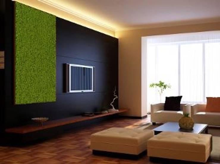 Zielone ściany z mchu Moss Trend®: styl , w kategorii Pokój multimedialny zaprojektowany przez BandIt Design