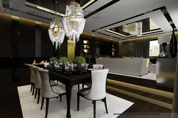Klasyczna jadalnia z żyrandolami: styl , w kategorii Jadalnia zaprojektowany przez Inventive Interiors