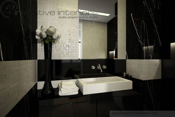 Marmur i masa perłowa w łazience: styl , w kategorii Łazienka zaprojektowany przez Inventive Interiors