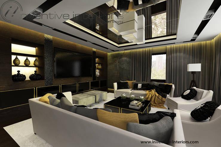 Lustro na suficie w salonie: styl , w kategorii Salon zaprojektowany przez Inventive Interiors