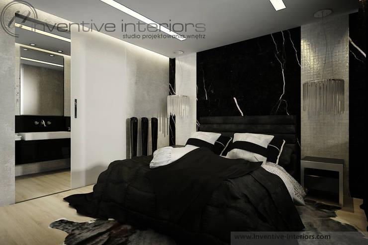 Czarna luksusowa sypialnia: styl , w kategorii Sypialnia zaprojektowany przez Inventive Interiors