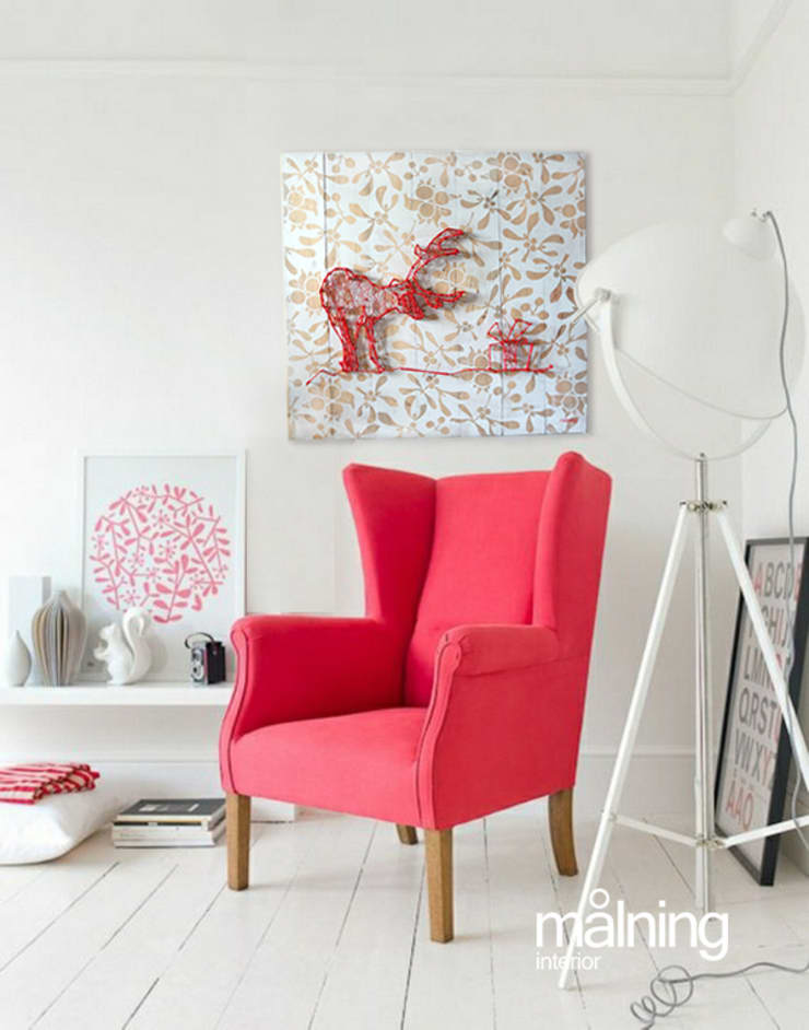 Reindeers Wishes RED: styl , w kategorii Sztuka zaprojektowany przez Malning Interior Tomasz Pabin