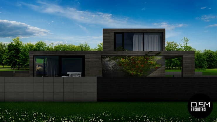 Dom z płaskim dachem: styl , w kategorii Domy zaprojektowany przez DISM Architekci