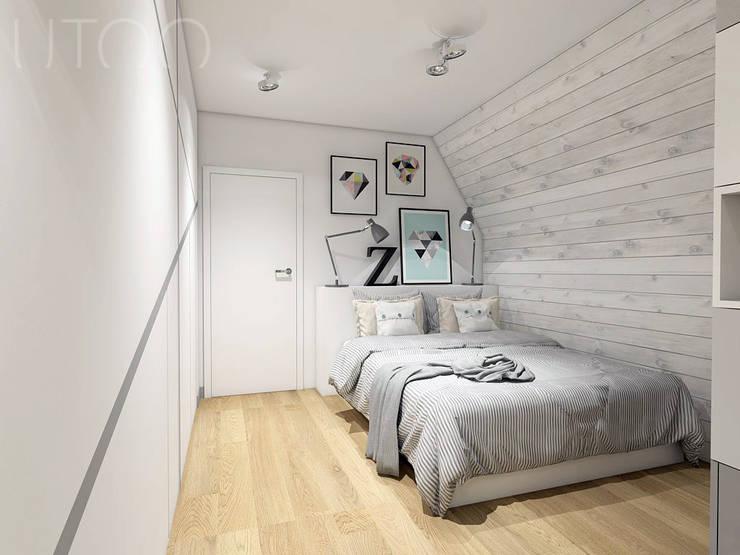 Część sypialniana: styl , w kategorii Sypialnia zaprojektowany przez UTOO-Pracownia Architektury Wnętrz i Krajobrazu,Skandynawski