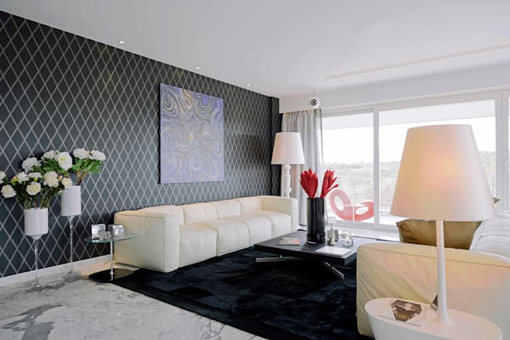 THE RIDGES—A3 VILLA:  Living room by Aijaz Hakim Architect [AHA],Modern