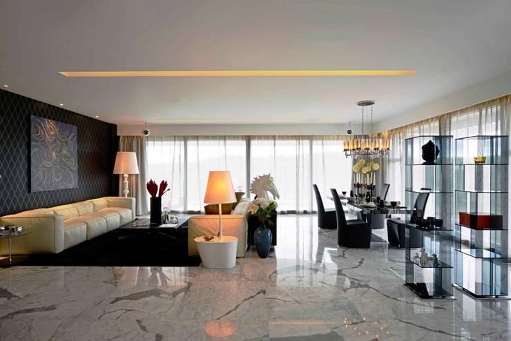 غرفة المعيشة تنفيذ Aijaz Hakim Architect [AHA]
