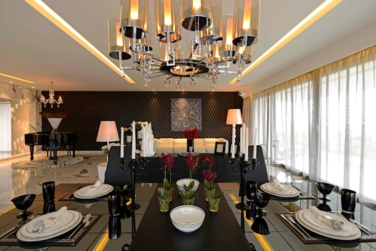 THE RIDGES—A3 VILLA:  Dining room by Aijaz Hakim Architect [AHA],Modern