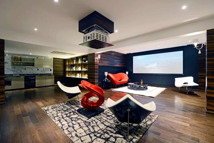 THE RIDGES - A3 VILLA: modern Media room by Aijaz Hakim Architect [AHA]