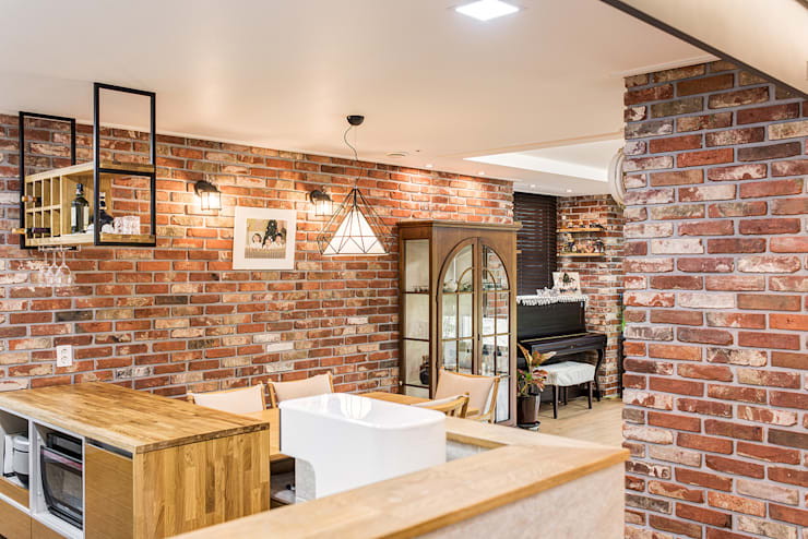 수원시 영통구 이의동 자연앤자이아파트  (48평형): 아르떼 인테리어 디자인의  다이닝 룸