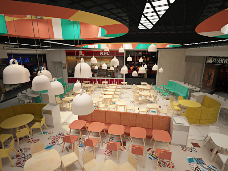 FOOD COURT: styl , w kategorii Jadalnia zaprojektowany przez Delicious Concept,Nowoczesny