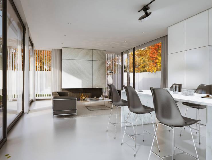 POKOJ DZIENNY, JADALNIA: styl , w kategorii Salon zaprojektowany przez PAWEL LIS ARCHITEKCI